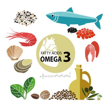 「オメガ 3 最高の内容と食品」健康な心臓と心臓血管系。健康的なライフ スタイル。バランスの取れた食事。健康的な栄養の基本。明るい背景に食  イラスト・ベクター素材