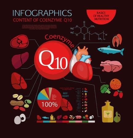 salud publica: Los productos alimenticios que son útiles para el corazón y el sistema cardiovascular, con un alto contenido de coenzima Q10. Carnes, pescado, aceite. Contenido por 100 gramos de producto. gráfico de sectores. Esquema. Vectores