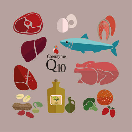 mackerel: Food products that are useful for the heart and cardiovascular system, with a high content of Coenzyme Q10. Meats, fish, oil. Illustration