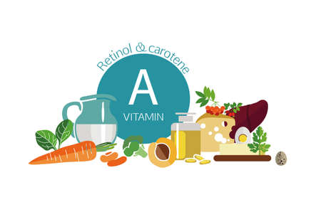Composition of foods with the maximum vitamin A content. Retinol and carotene. Fundamentals of healthy eating. White background