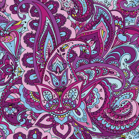 Seamless pattern of Paisley based on traditional oriental patterns. Hand drawing. Vintage style. Purple, Blue, Pink