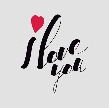 Lettering I love you calligraphic font, hand drawing. Individual font. Declaration of love. Light background, red heart