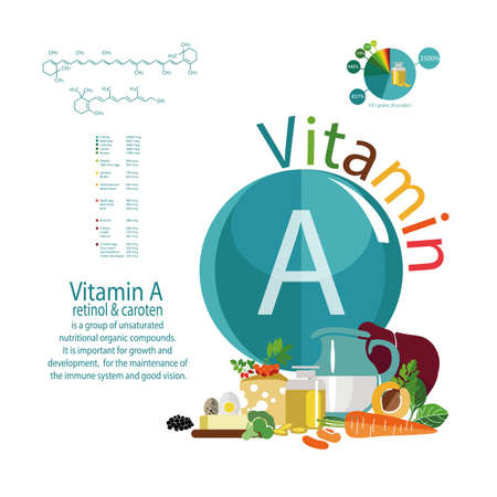 Composition of foods with the maximum vitamin A content. Retinol and carotene. The Basics of Healthy Eating Illustration