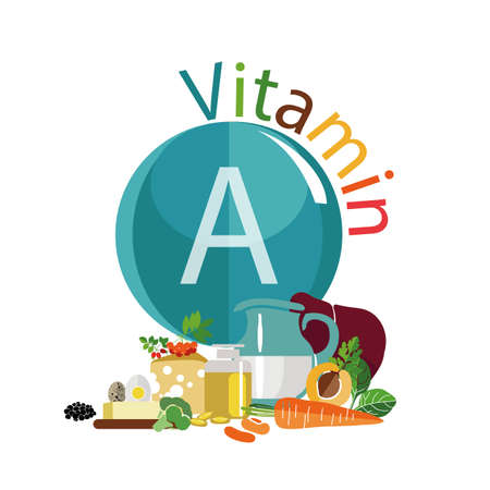 Infographics. The content of vitamin A in food. Composition of foods with the maximum content of vitamin A. Fundamentals of healthy nutrition