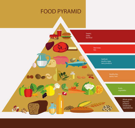Food pyramid. The principle of healthy eating. Products needed for health. Useful and harmful food. Bread, butter, vegetables and fruits, fish. Colour