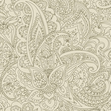 Seamless pattern of Paisley based on traditional oriental patterns. Hand drawing. Vintage style. Linear drawing. Ochre