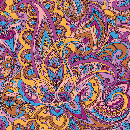 oriental pattern: Seamless pattern of Paisley based on traditional oriental patterns. Hand drawing. Vintage style. Yellow, blue, pink Illustration