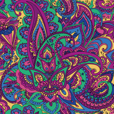 violet: Seamless pattern of Paisley based on traditional oriental patterns. Hand drawing. Vintage style. Purple, green, blue