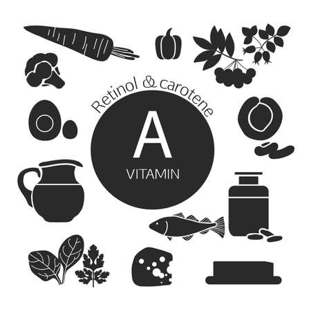 fundamentals: Infographics. Foods with the maximum content of vitamin A. Retinol and carotene. Fundamentals of healthy eating. Black silhouettes Illustration