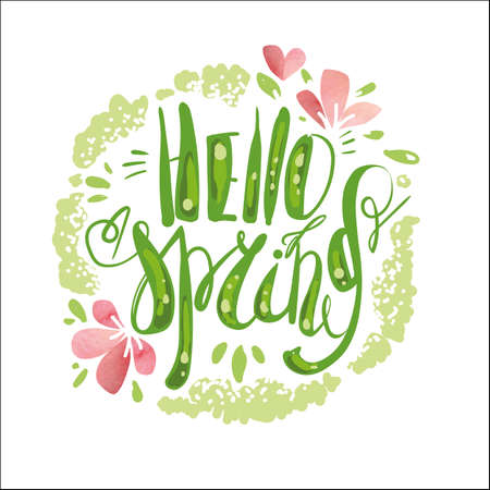 Lettering Hello Spring. Hand writing. Green. Illustration
