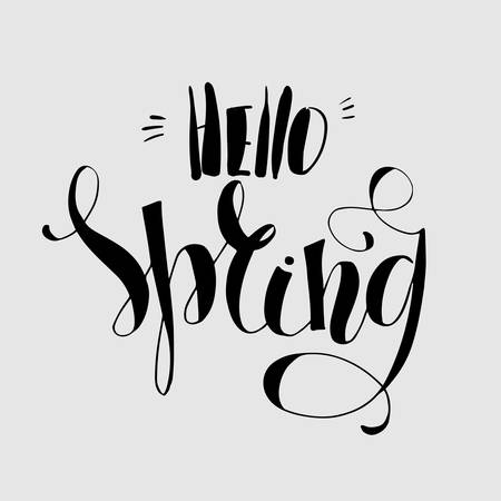 Lettering Hello Spring. Hand writing. Light on the dark. Calligraphy