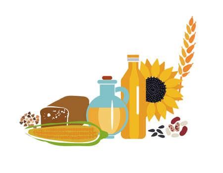 天然物健康的な食事は健康に注意することです。  イラスト・ベクター素材