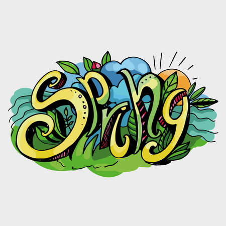 """낙서 스타일 """"봄""""의 문자. 손으로 쓰는. 밝은 배경의 컬러 이미지"""