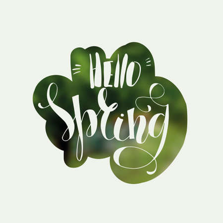 Lettering Hello Spring. Hand writing. White inscription on a blurred background Illustration