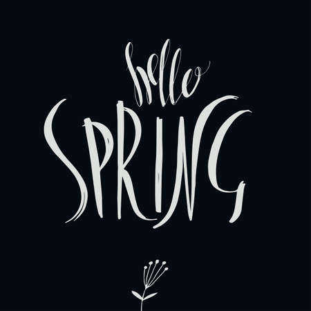 Lettering Hello Spring. Hand writing. Calligraphic type. Light on the dark Illustration