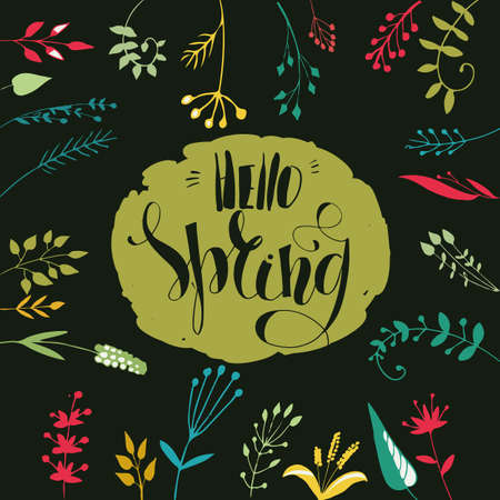 hand writing: Lettering Hello Spring. Hand writing. Gold on a dark background with plants. Calligraphic type