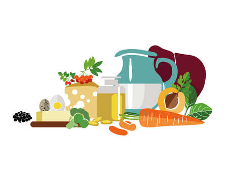 Organic food - dairy products, vegetables, greens. A healthy diet is about taking care of your health.