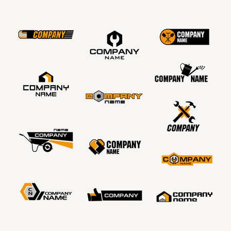 家庭用品の店のロゴまたは生産やツール、ガーデン ツール、ファスナー、家庭用品、建築材料、および修理製品の貿易会社のセット。  イラスト・ベクター素材