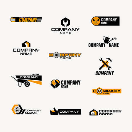 fasteners: A set of logos for a store of household goods or a company for the production or trade of tools, garden tools, fasteners, household goods, building materials, and repair products. Illustration