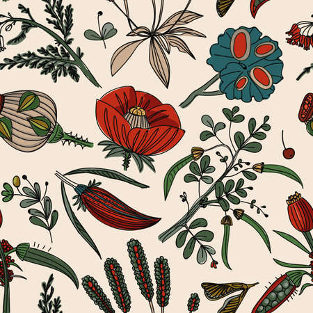 Seamless background with a floral pattern. Wildflowers, plants, leaves pattern for textiles