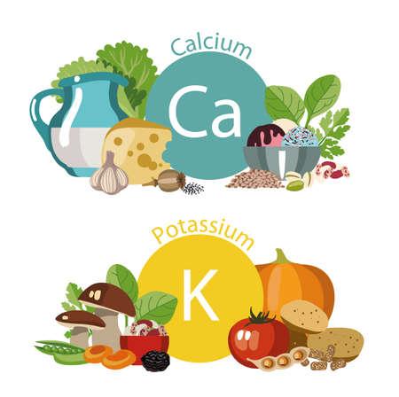 """Infographics """"Health food"""", calcium en kalium Stock Illustratie"""