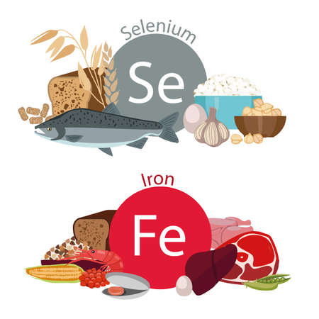 dietology: Infographics Health food, Selenium and Iron