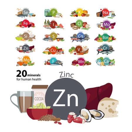 20 minéraux pour la santé humaine Banque d'images - 87275248