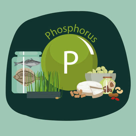 Products rich with phosphorus. Bases of healthy food. Composition from natural organic products and the sign of phosphorus on a color background. Healthy lifestyle
