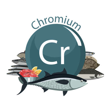 Food rich with chrome. Fish and shrimps. Healthy food. Natural organic products and the sign of chrome, on a white background