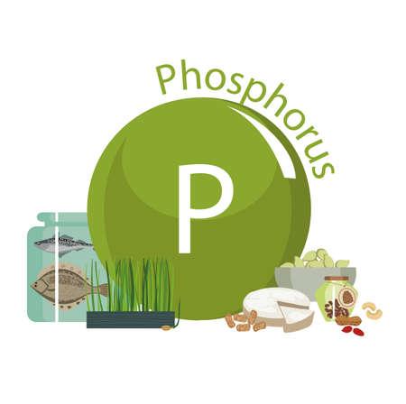Produits riches en phosphore. Bases de nourriture saine. Composition de produits organiques naturels et le signe du phosphore sur un fond blanc. Mode de vie sain