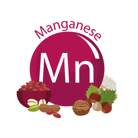 Products rich with manganese. Bases of healthy food. Composition from natural organic products and the sign of manganese on a white background. Healthy lifestyle