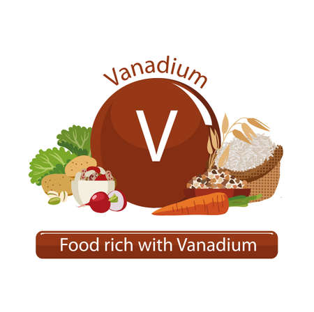 Products rich with vanadium. Bases of healthy food. Composition from natural organic products and the sign of vanadium on a white background. Healthy lifestyle Illustration