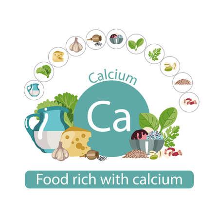Voedsel rijk aan calcium. Gezonde voedselserie. De producten die calcium bevatten. Natuurlijk biologisch voedsel. Samenstelling en tekens Stockfoto - 87677766