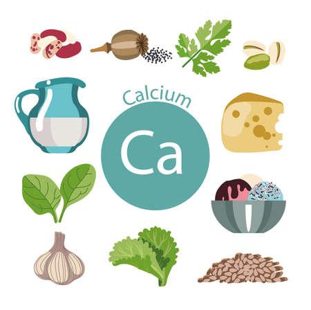 Nourriture riche en calcium. Série d'aliments sains. Les produits contenant du calcium. Aliments biologiques naturels. Banque d'images - 87677764