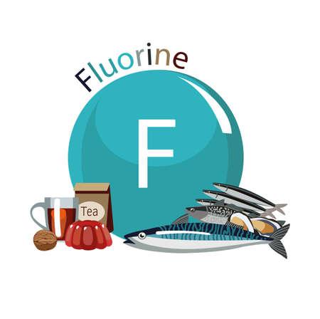 Aliment riche en fluor. Composition de produits naturels et le signe du fluor. Fond blanc. Mode de vie sain Banque d'images - 87677772