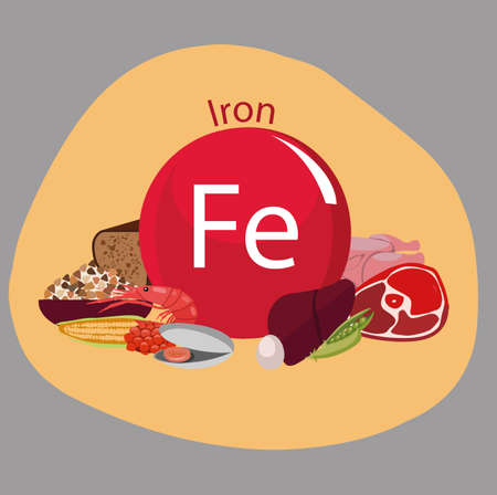 Products rich with iron. Bases of healthy food. Composition from natural organic products and the sign of iron on a color background. Healthy lifestyle