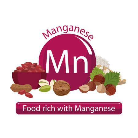 Produits riches en manganèse. Bases de nourriture saine. Composition de produits organiques naturels et le signe du manganèse sur un fond blanc. Mode de vie sain Banque d'images - 87677771