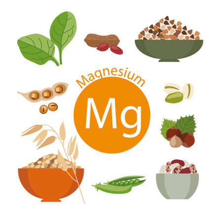 Products rich with magnesium. Bases of healthy food. Natural organic products and the sign of magnesium on a white background. Healthy lifestyle Ilustrace