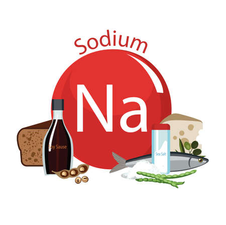 Products rich with sodium. Bases of healthy food. Composition from natural organic products and the sign of sodium on a white background. Healthy lifestyle Illustration