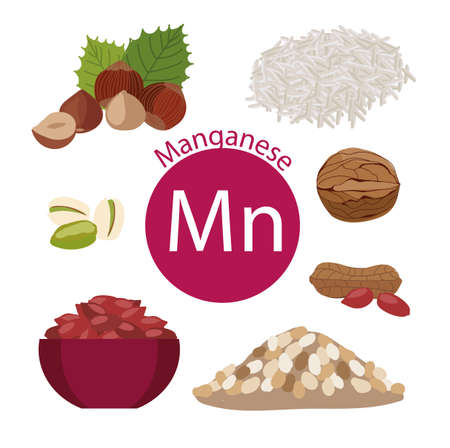 Products rich with manganese. Bases of healthy food. Natural organic products and the sign of manganese on a white background. Healthy lifestyle