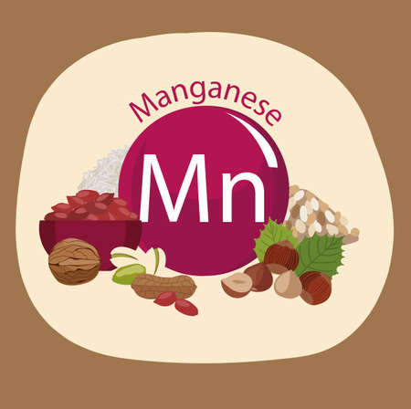 Products rich with manganese. Bases of healthy food. Composition from natural organic products and the sign of manganese on a color background. Healthy lifestyle