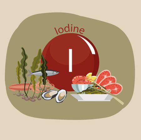 Lebensmittel reich an Jod. Natürliche organische Produkte und Zeichen von Fluor. Grundlagen Gesunder Lebensstil Standard-Bild - 87677812