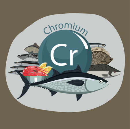 Food rich with chrome. Fish and shrimps. Healthy food. Natural organic products and the sign of chrome, on a color background. Illustration