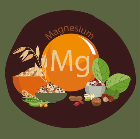 Products rich with magnesium. Bases of healthy food. Composition from natural organic products and the sign of magnesium on a color background. Healthy lifestyle