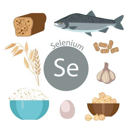 Productos ricos en selenio Bases de comida saludable. Composición de productos orgánicos naturales y el signo de selenio sobre un fondo blanco. Estilo de vida saludable Foto de archivo - 87677822