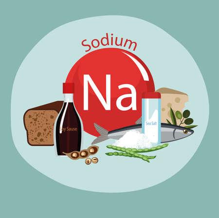 Produits riches en sodium. Bases de nourriture saine. Composition de produits organiques naturels et le signe du sodium sur un fond de couleur. Mode de vie sain Banque d'images - 87677823