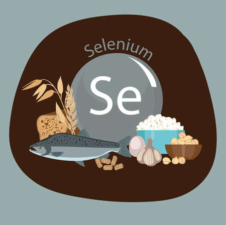Products rich with selenium. Bases of healthy food. Composition from natural organic products and the sign of selenium on a color background. Healthy lifestyle