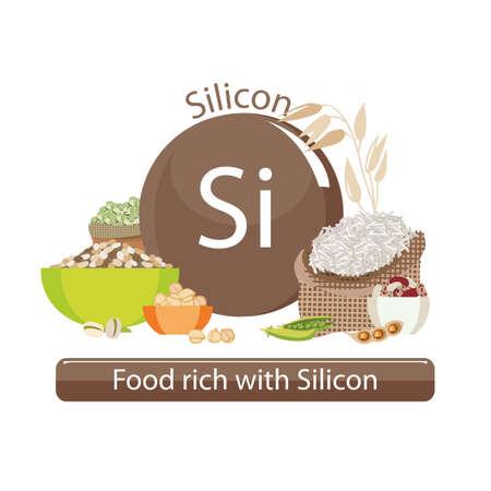 Produits riches en silicium. Bases de nourriture saine. Composition de produits organiques naturels et le signe du silicium sur un fond blanc. Mode de vie sain Banque d'images - 87677884