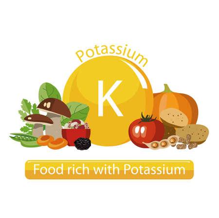 Producten rijk aan kalium. Basis van gezond voedsel. Samenstelling van natuurlijke organische producten en het teken van kalium op een witte achtergrond. Gezonde levensstijl Stockfoto - 87677880