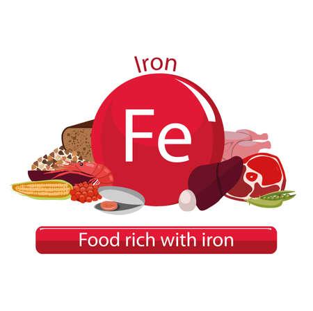 Produkte reich an Eisen. Grundlagen für gesundes Essen. Zusammensetzung aus natürlichen Bio-Produkten. Gesunder Lebensstil